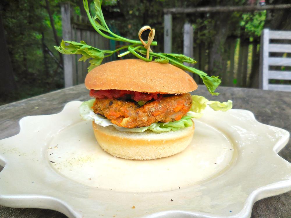 burger vegan patate douce aubergine