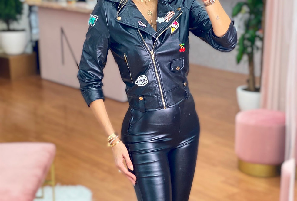 Stickers leather Jacket