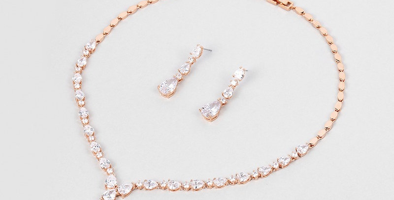 Ainsley Rose Gold Bridal Jewellery Set