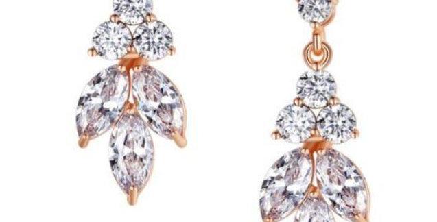 simple drop earrings wedding rose gold
