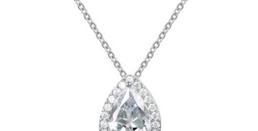 Silver teardrop bridal necklace