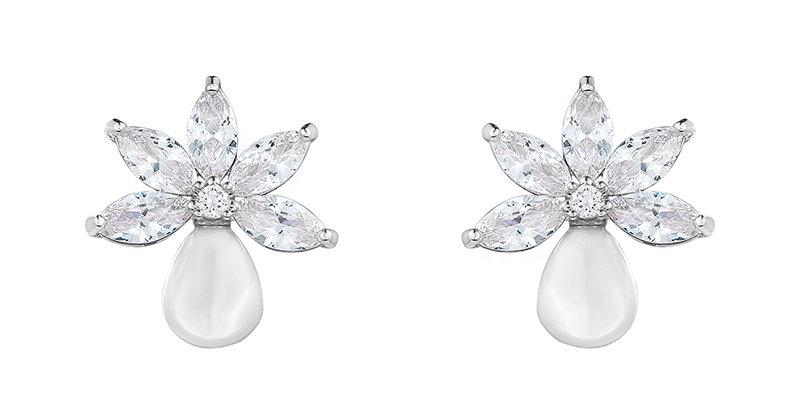 pearl cluster bridal earrings