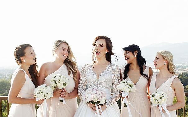 bridesmaids wearing silver bridesmaid jewellery