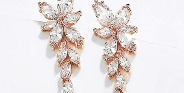 Rose gold drop earrings bridal