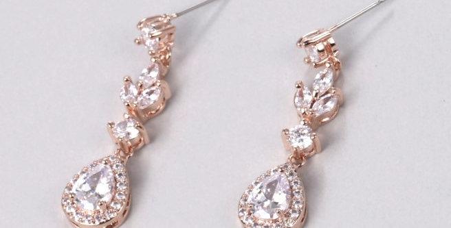 rose gold drop bridemaid earrings
