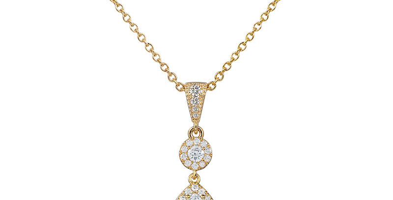 Gold bridal necklace with cubic zirconia