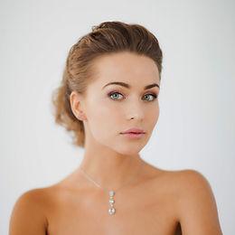 elegant silver bridal necklace on bride