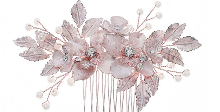 rose gold hair piece for wedding