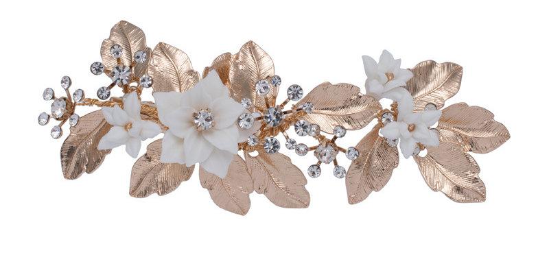 Vintage gold bridal hair clip with porcelain flowers