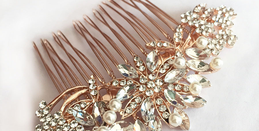 Rose gold vintage bridal hair comb