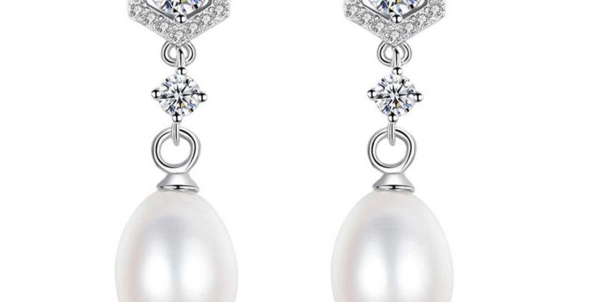 Adeline pearl drop earrings bridal