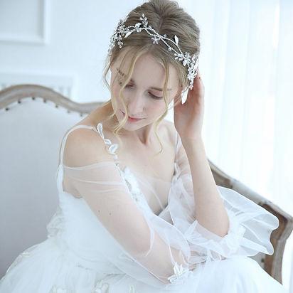 bride with bridal hair fine wedding