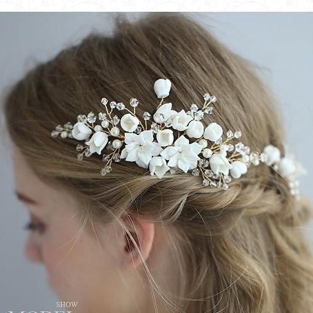 gold bridal head piece flowers