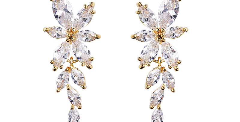 Gold bridal earrings dangle drop