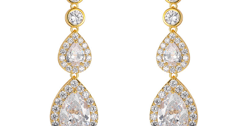 Gold bridal statement earrings