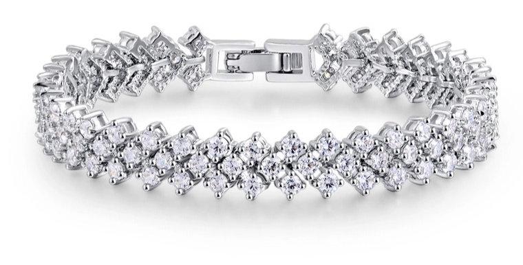 Cubic zirconia bridal tennis bracelet