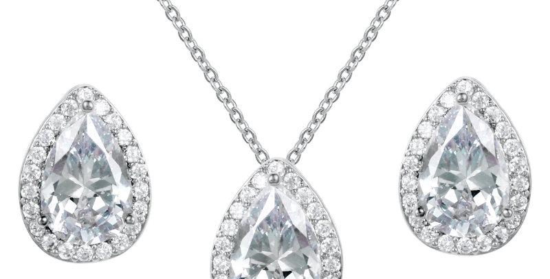 Silver bridal jewelry set