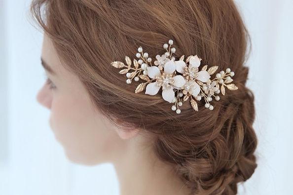 rose gold bridal head piece wedding