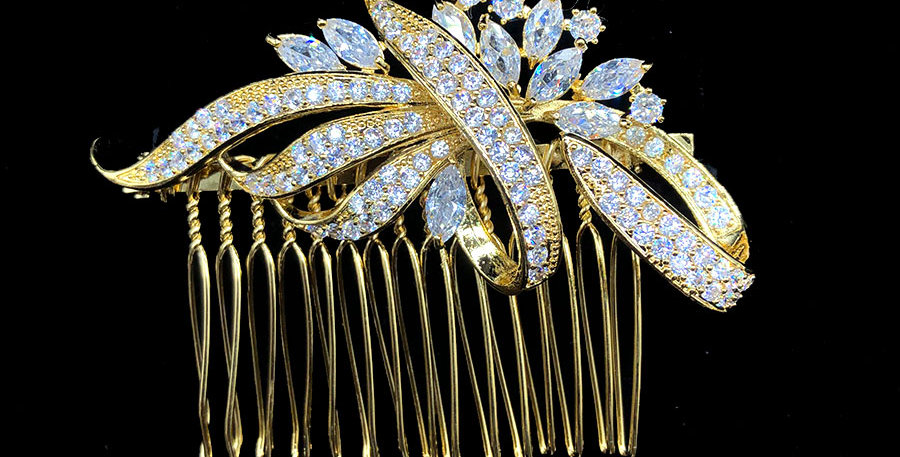 Gold bridesmaid hair accessory and gold bridal hair piece