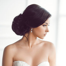 bride wearing bridal earrings for wedding