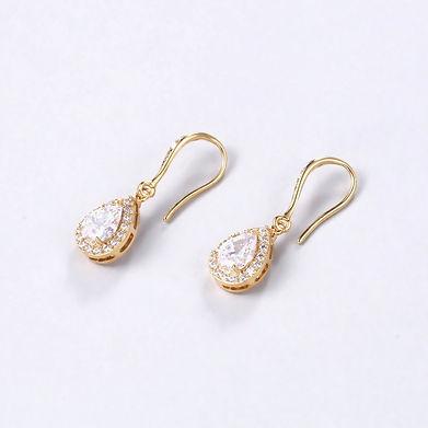elegant gold cubic zirconia bridal earrings