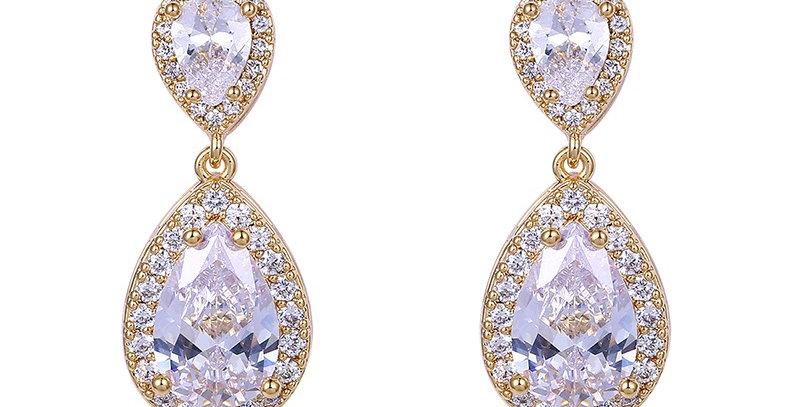 bridal earrings rose gold teardrop crystals