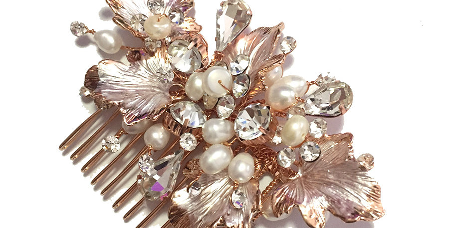 Rose gold crystal and pearl hair piece