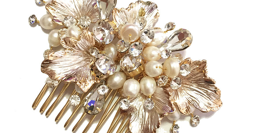 Camille gold pearl bridal hair comb