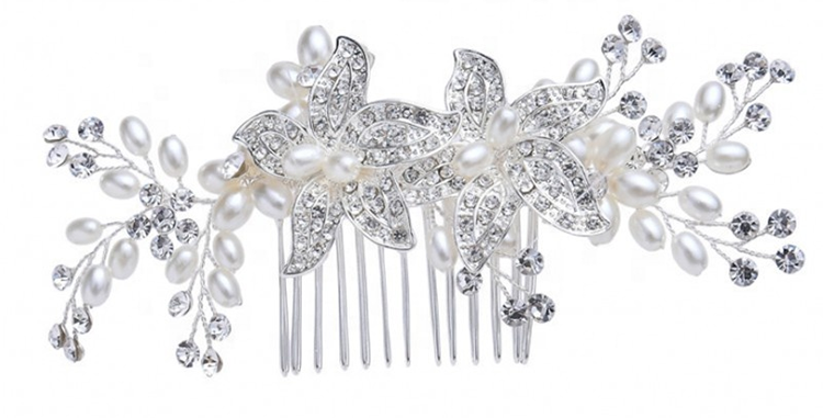 bridal hair comb silver