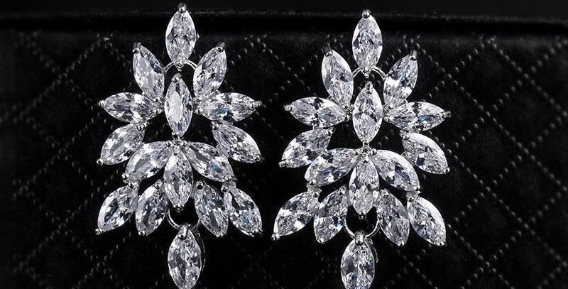 Wedding cluster earrings silver