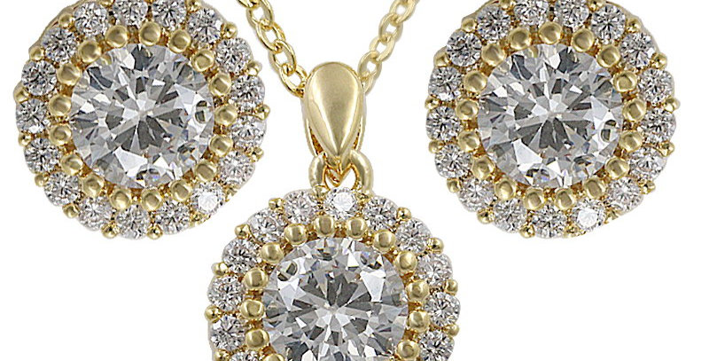 gold bridesmaid necklace and earring set