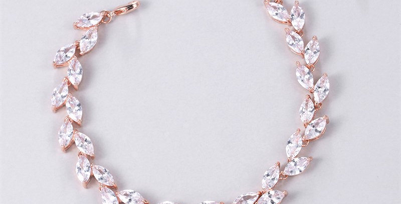 Marquise cubic zirconia rose gold bridal bracelet