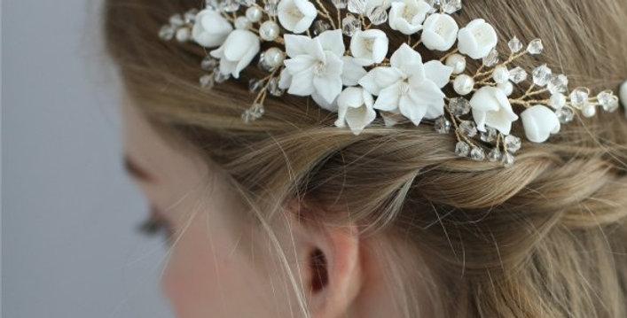 Side swept bridal hair piece