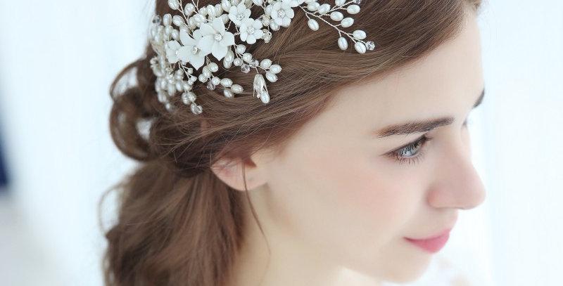Stunning Pearl Bridal Hair Vine