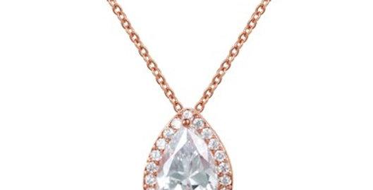 Teardrop rose gold bridal necklace