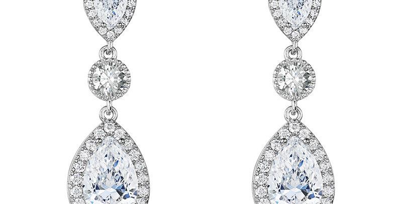 Destiny silver drop bridal earrings