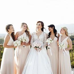 bride and bridesmaids wearing bridal jewellery