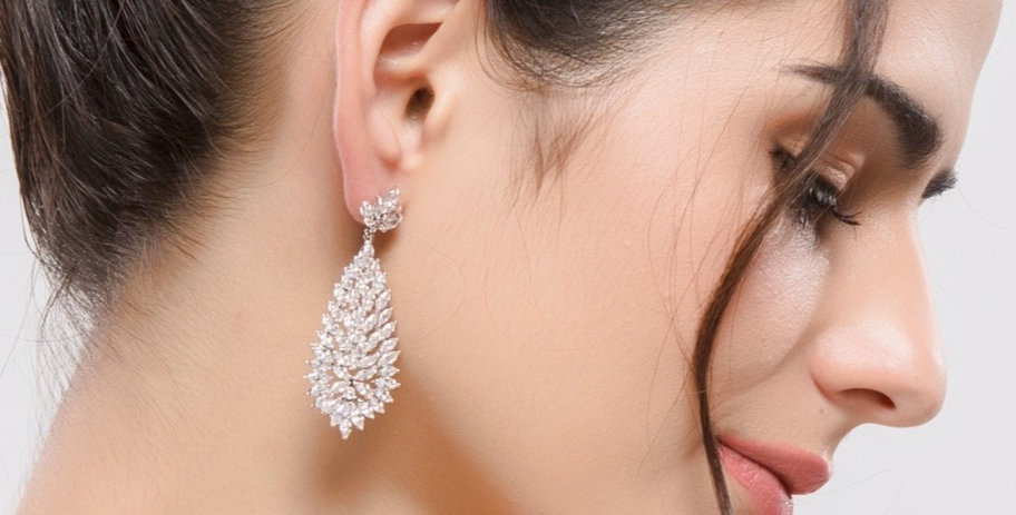 Silver bridal statement earrings
