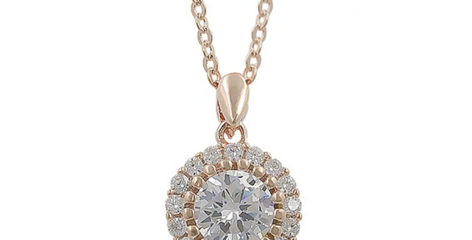 Rose gold bridal necklace with cubic zirconia