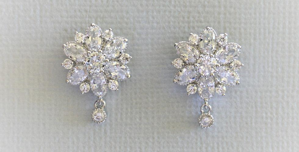 Silver floral bridal earrings