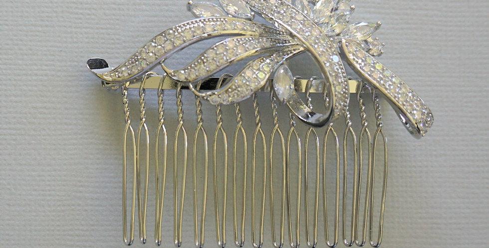 Silver bridal side comb