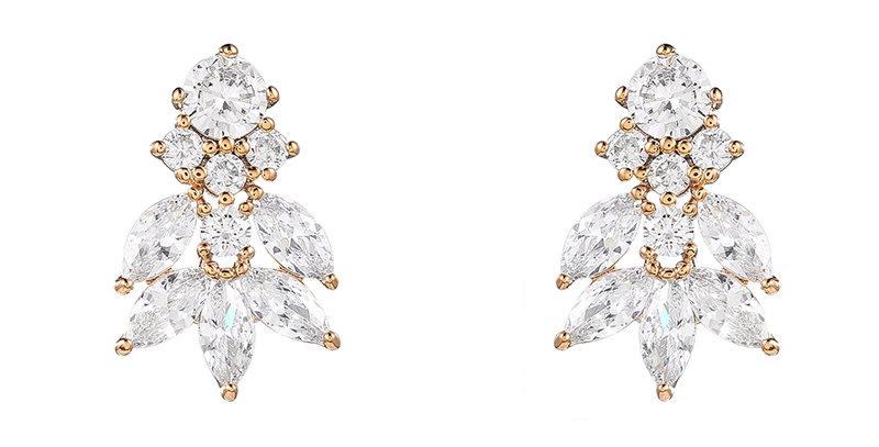 Rose gold bridal vintage style bridal earrings