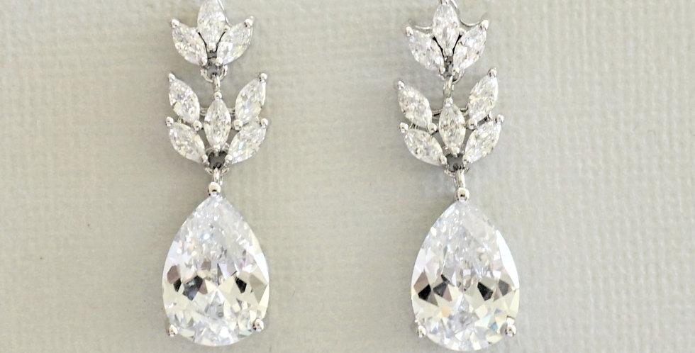 Silver drop bridal earrings cubic zirconia
