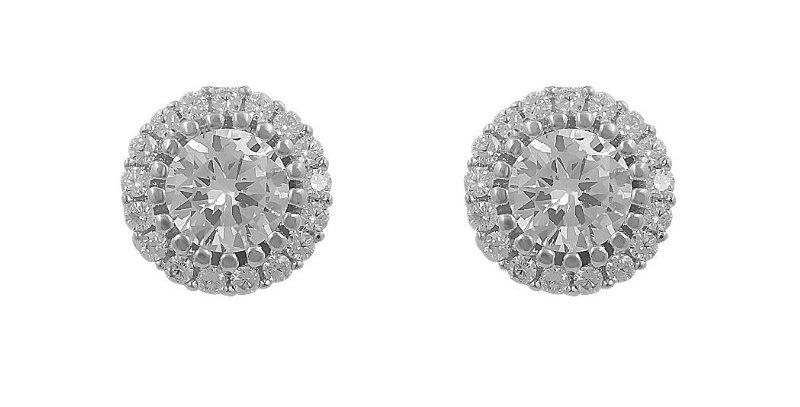 Silver bridal stud earrings
