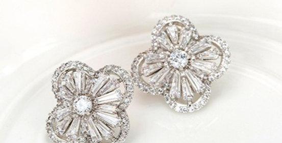 Silver vintage bridal earrings