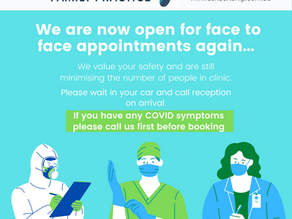 WE ARE SEEING PATIENTS FACE - TO - FACE AGAIN !!
