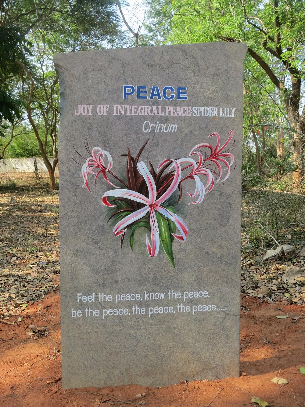 Peace-Stein in Auroville/Indien (copyright D. Kramer