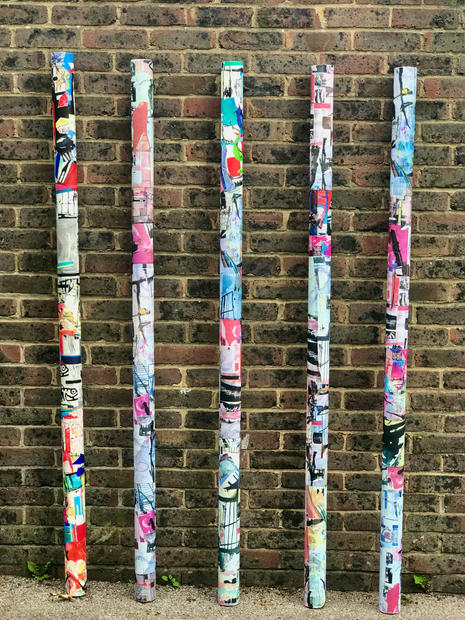 Painted Poles- Social Distancing Markers