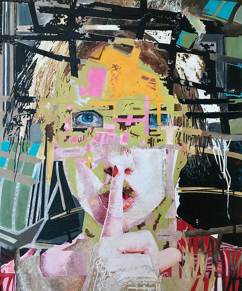 Shhhhh Self-Portrait, 2021, acrylic on c