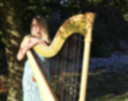 Thea Butterworth and harp thats used for weddings.